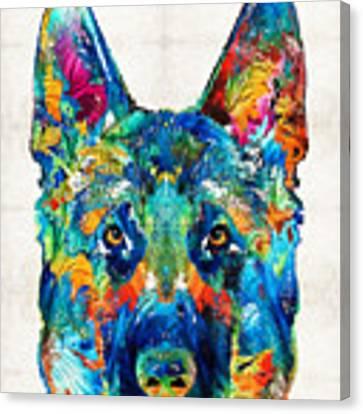 Colorful German Shepherd Dog Art By Sharon Cummings Canvas Print by Sharon Cummings