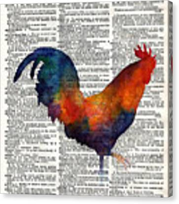 Colorful Rooster On Vintage Dictionary Canvas Print by Hailey E Herrera