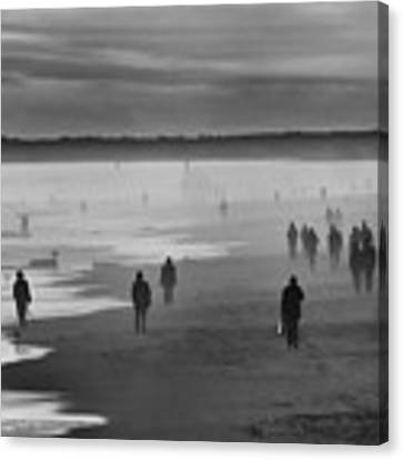Coney Island Walkers Canvas Print by Eric Lake
