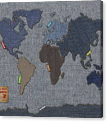 Continental Denim World Map Canvas Print by Michael Tompsett