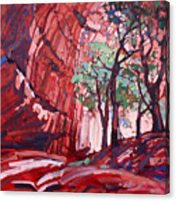 Cottonwoods At Chelly Canvas Print by Erin Hanson