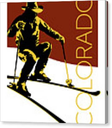 Colorado Cowboy Skier Canvas Print by Sam Brennan