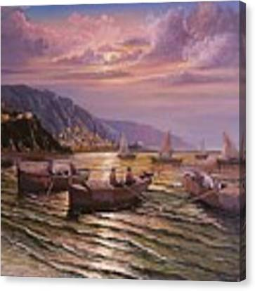 Day Ends On The Amalfi Coast Canvas Print by Rosario Piazza