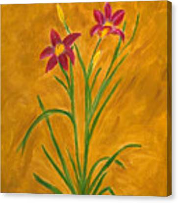 Day Lilies #3 Canvas Print by Linda Feinberg