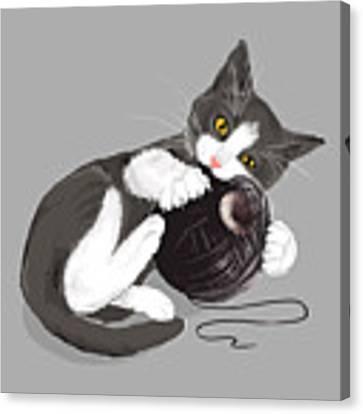 Death Star Kitty Canvas Print by Olga Shvartsur