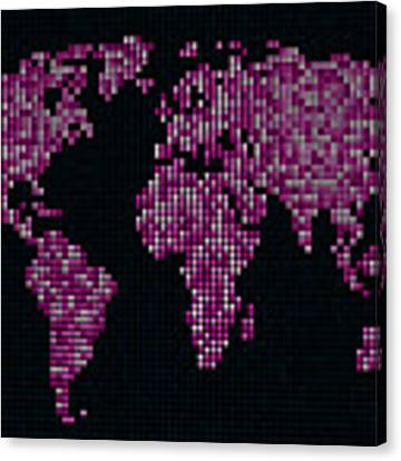 Dot Map Of The World - Pink Canvas Print by Michael Tompsett