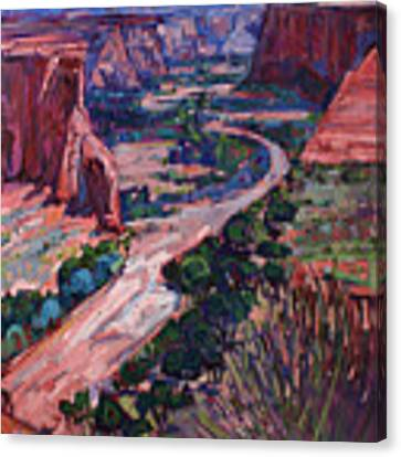 Down In The Canyon Canvas Print by Erin Hanson