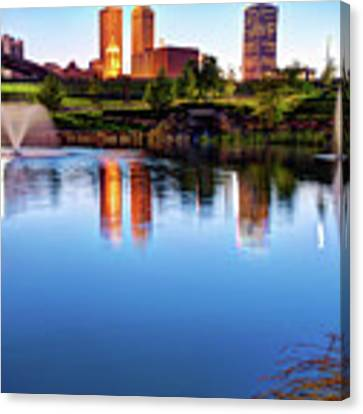 Downtown Tulsa On The Lake Canvas Print by Gregory Ballos