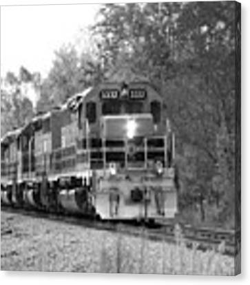 Fall Train In Black And White Canvas Print by Rick Morgan