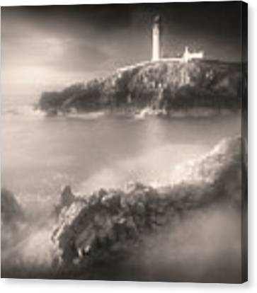 Fanad Lighthouse In The Mist Canvas Print by Susan Maxwell Schmidt