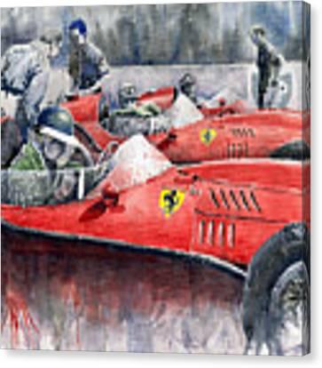 Ferrari Dino 246 F1 1958 Mike Hawthorn French Gp  Canvas Print by Yuriy Shevchuk