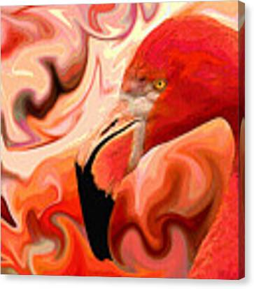 Flamingoed An Abstract In Pink Canvas Print by Shelli Fitzpatrick