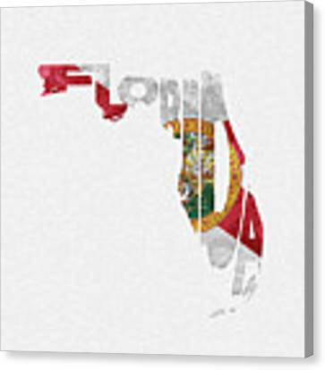 Florida Typographic Map Flag Canvas Print