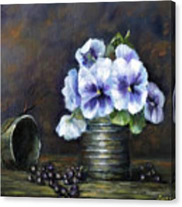 Flowers,pansies Still Life Canvas Print by Katalin Luczay