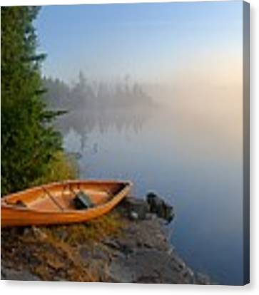 Foggy Morning On Spice Lake Canvas Print