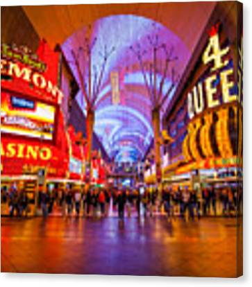 Fremont Street Experience At Night In Las Vegas Canvas Print by Bryan Mullennix