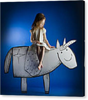 Girl And Her Unicorn Canvas Print