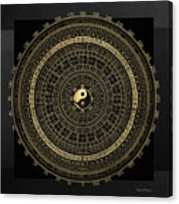 Gold Feng Shui Compass - Geomantic Compass Luopan Over Black Canvas Canvas Print by Serge Averbukh