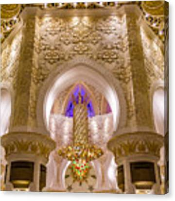 Golden Interiors Of Sheikh Zayed Mosque Canvas Print by Yogendra Joshi