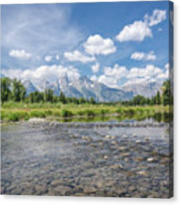 Grand Tetons On A Sunny Day Canvas Print by Margaret Pitcher