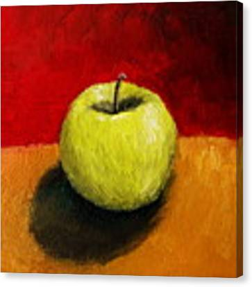 Green Apple With Red And Gold Canvas Print