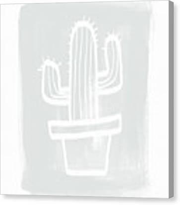 Grey And White Cactus- Art By Linda Woods Canvas Print by Linda Woods