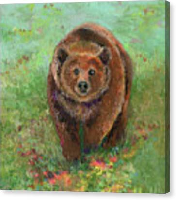 Grizzly In The Meadow Canvas Print by Lauren Heller
