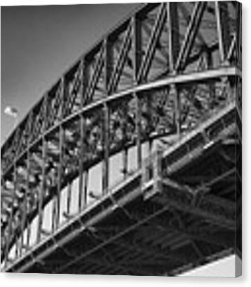 Harbor Bridge In Black And White Canvas Print by Yew Kwang