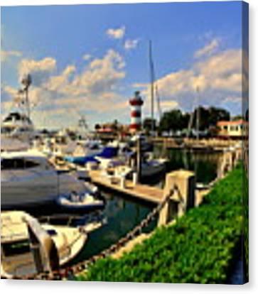 Harbour Town Marina Sea Pines Resort Hilton Head Sc Canvas Print by Lisa Wooten