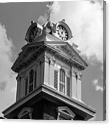 Historic Courthouse Steeple In Bw Canvas Print by Doug Camara