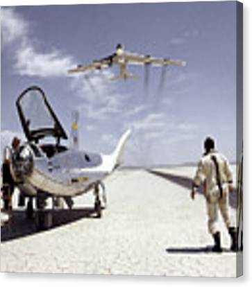 Hl-10 On Lakebed With B-52 Flyby Canvas Print by Artistic Panda
