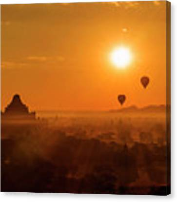 Holy Temple And Hot Air Balloons At Sunrise Canvas Print by Pradeep Raja PRINTS