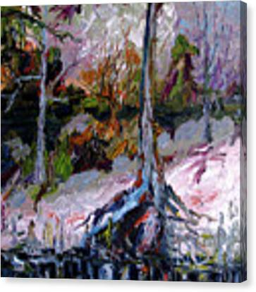 Impressionist Landscape Portrait Wetland Tree Canvas Print by Ginette Callaway