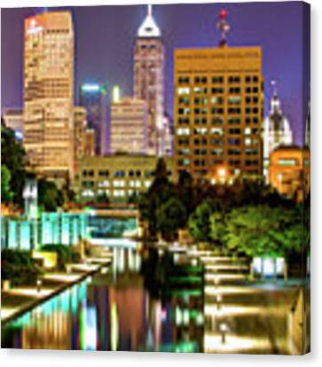 Indianapolis City Skyline And Canal Walk Canvas Print by Gregory Ballos