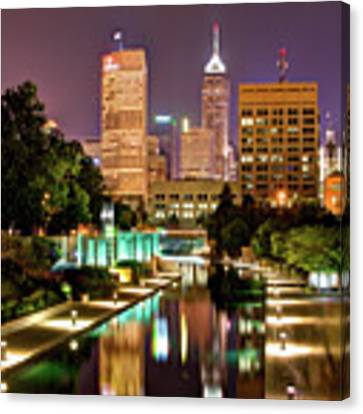 Indianapolis Indiana Skyline And Canal Walk At Night Canvas Print by Gregory Ballos