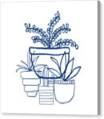 Indigo Potted Succulents- Art By Linda Woods Canvas Print
