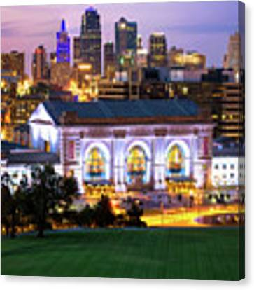 Kansas City Skyline With Union Station In Color Canvas Print by Gregory Ballos