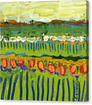 Landscape In Green And Orange Canvas Print