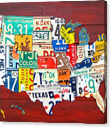 License Plate Map Of The United States - Midsize Canvas Print