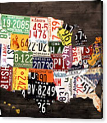 License Plate Map Of The United States - Warm Colors / Black Edition Canvas Print