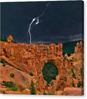Lightning Over Natural Bridge Formation Bryce Canyon National Park Utah Canvas Print by Dave Welling