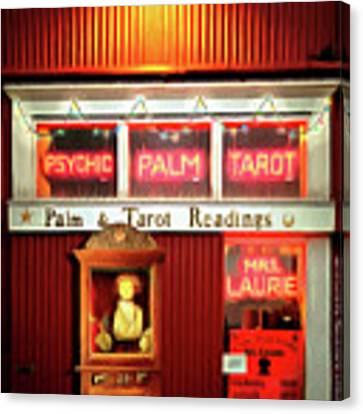Madame Lauries Psychic Palm Tarot Fortune Be Told Closed For Holiday Please Use Atm Circa 2016 Canvas Print by Wingsdomain Art and Photography