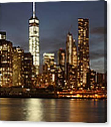 Manhattan Skyline At Night - Panorama Canvas Print by Nathan Rupert