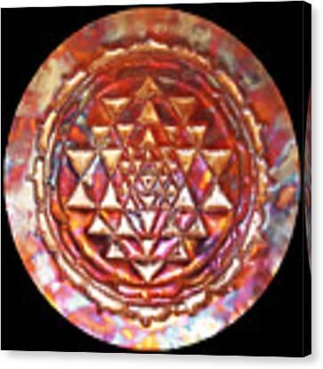 Mini Sri Yantra Kupfer Lichtmandala  Canvas Print by Robert Thalmeier