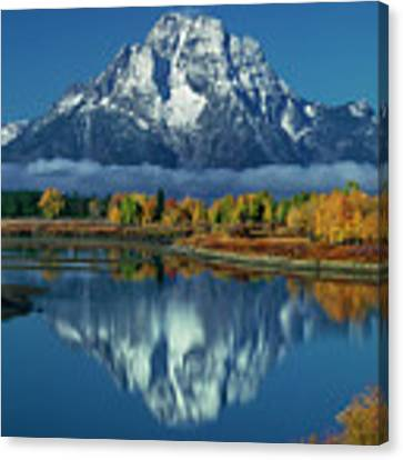 Morning Cloud Layer Oxbow Bend In Fall Grand Tetons National Park Canvas Print by Dave Welling