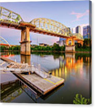 Nashville Pedestrian And Gateway Bridge At Dusk Canvas Print by Gregory Ballos