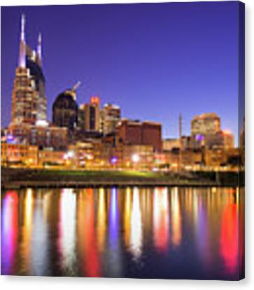Nashville Skyline At Night On The Cumberland River Canvas Print by Gregory Ballos