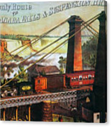 Niagara Falls Bridge, 1876 Canvas Print by Granger