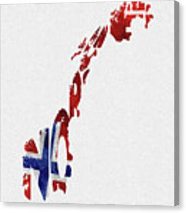 Norway Typographic Map Flag Canvas Print
