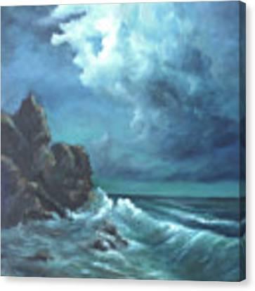 Seascape And Moonlight An Ocean Scene Canvas Print by Katalin Luczay